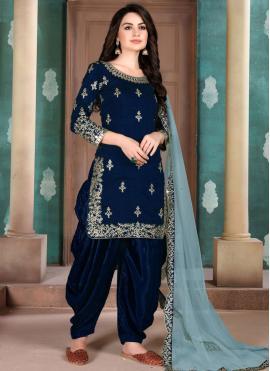 Magnificent Navy Blue Embroidered Art Silk Designer Salwar Kameez