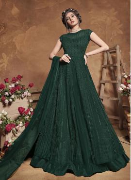 Magnificent Net Green Fancy Floor Length Anarkali Suit