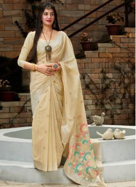 Majestic Cream Weaving Traditional Saree