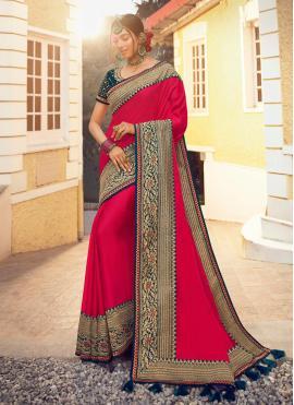 Majestic Fancy Hot Pink Satin Silk Designer Traditional Saree