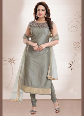 Majestic Handwork Silk Churidar Designer Suit