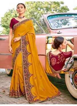 Majestic Patch Border Fancy Fabric Mustard Designer Traditional Saree