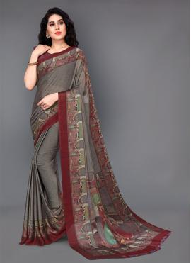 Majestic Printed Grey Trendy Saree