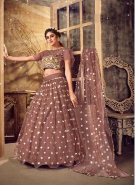 Majestic Resham Pink Net A Line Lehenga Choli