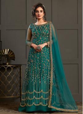 Majestic Teal Designer Floor Length Salwar Suit