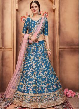 Majesty Embroidered Art Silk Blue Lehenga Choli