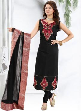 Majesty Fancy Black Chanderi Churidar Designer Suit