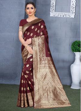 Maroon Art Silk Casual Traditional Saree