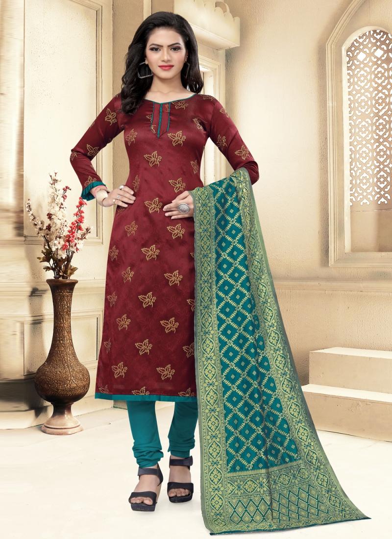 Maroon Banarasi Silk Festival Churidar Designer Suit
