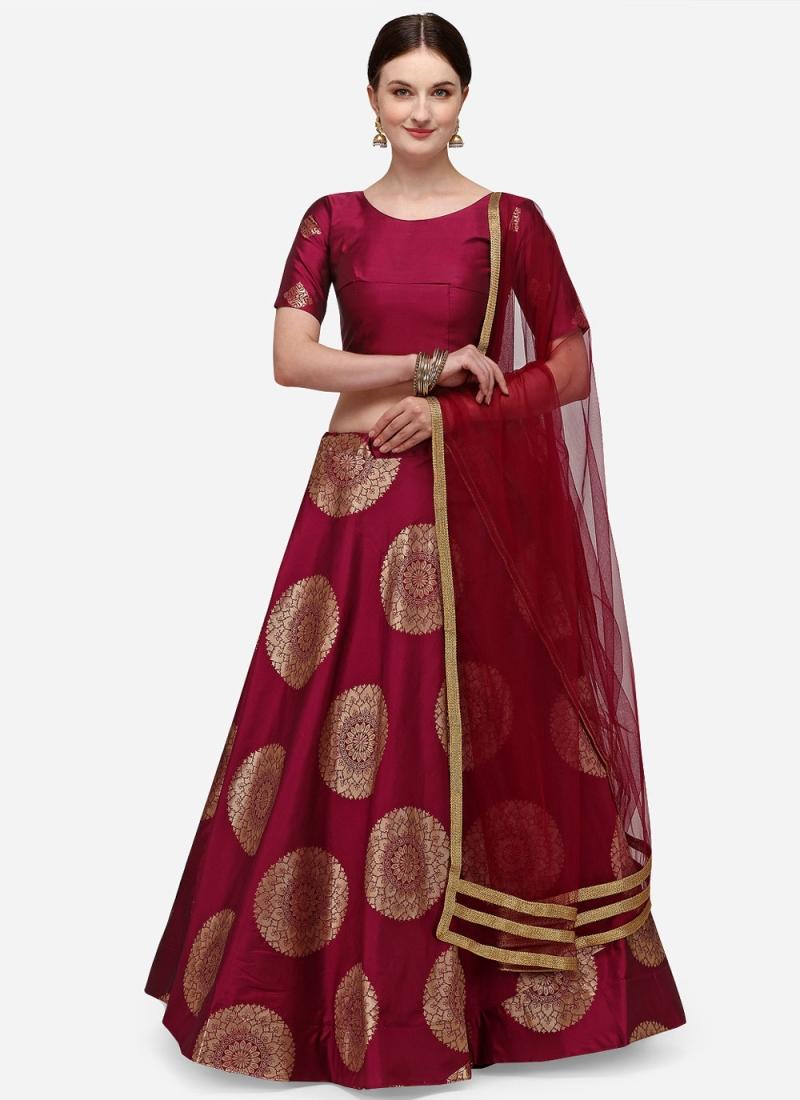 Maroon Banarasi Silk Lehenga Choli