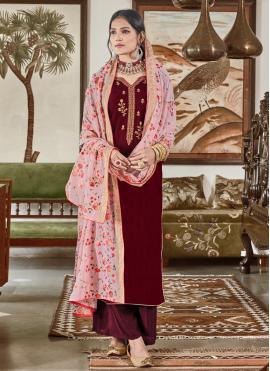Maroon Color Trendy Salwar Kameez