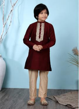 Maroon Cotton Silk Embroidered Kurta Pyjama