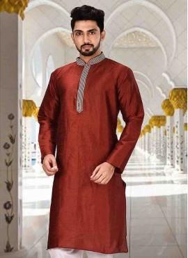 Maroon Embroidered Art Dupion Silk Nehru Jackets