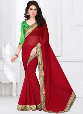 Maroon Embroidered Faux Georgette Saree