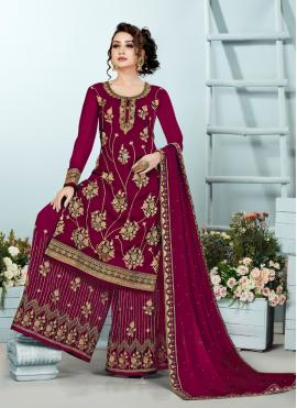 Maroon Embroidered Party Designer Pakistani Suit