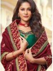 Maroon Embroidered Silk Designer Saree - 1