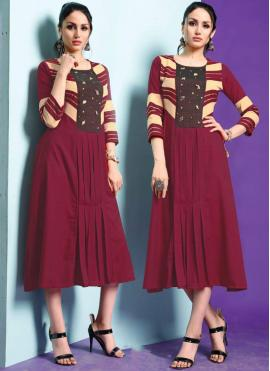 Maroon Fancy Fabric Party Wear Kurti