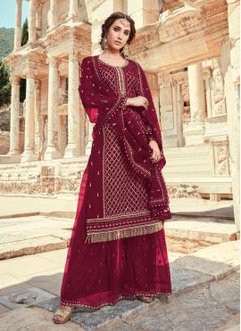 Maroon Faux Georgette Embroidered Designer Pakistani Salwar Suit