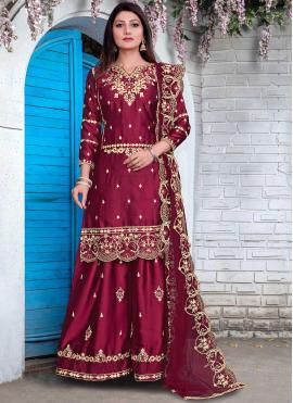 Maroon Festival Georgette Satin Designer Pakistani Salwar Suit