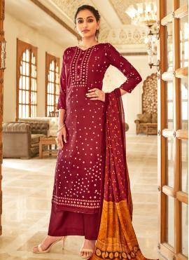 Maroon Printed Fancy Fabric Designer Palazzo Suit