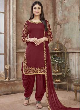 Maroon Reception Designer Patiala Salwar Kameez