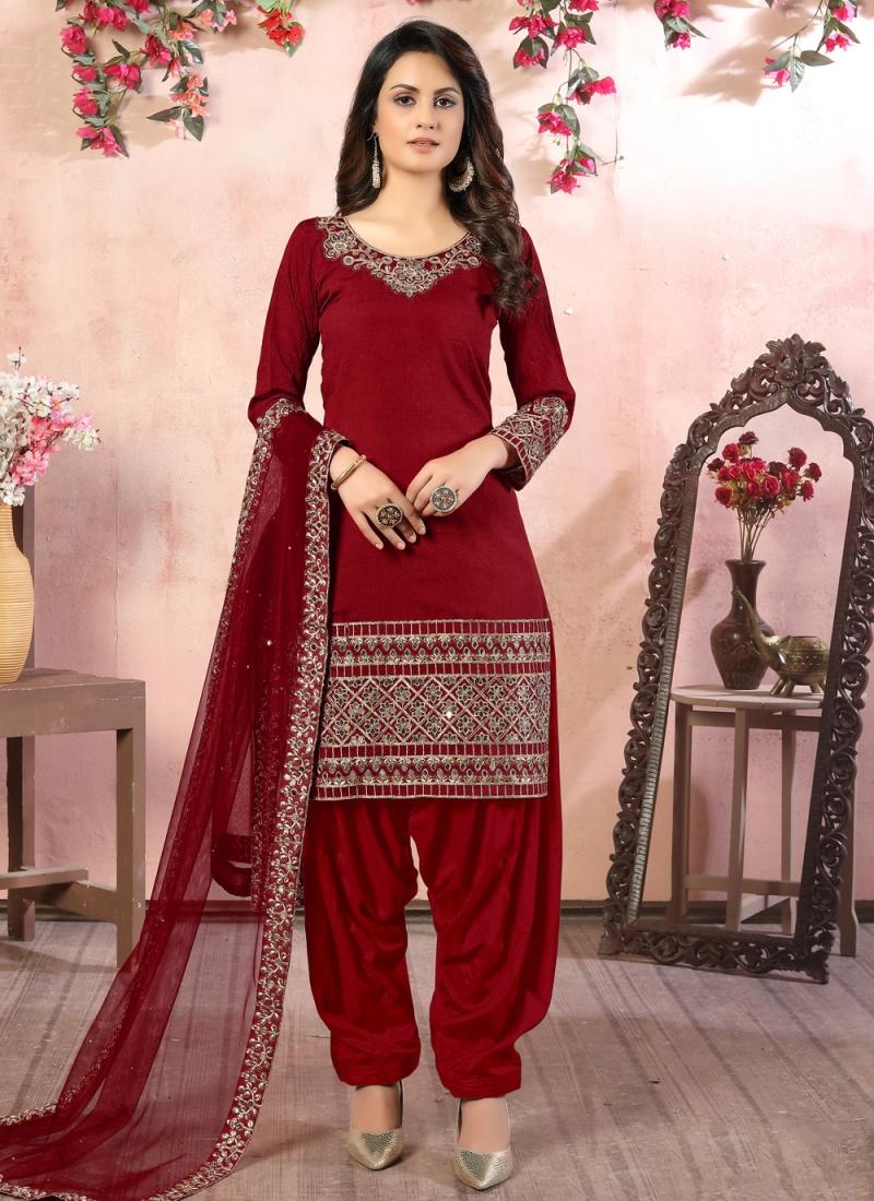 Maroon Resham Ceremonial Designer Patiala Suit