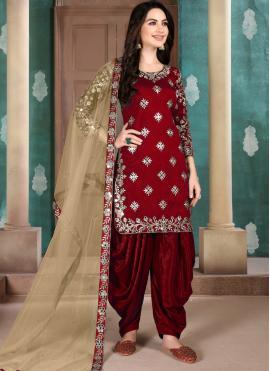 Maroon Resham Designer Patiala Suit