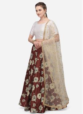 Maroon Satin Silk Fancy Lehenga Choli