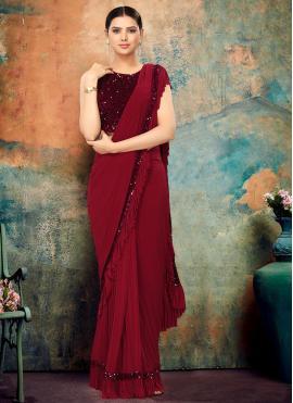 Maroon Sequins Bollywood Saree