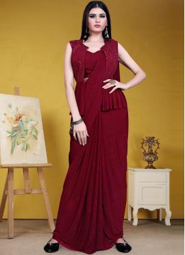Maroon Sequins Lycra Designer Saree
