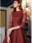 Maroon Sequins Net Floor Length Anarkali Suit - 2