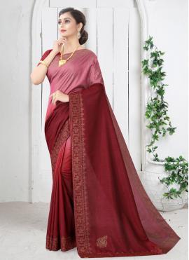 Maroon Silk Shaded Saree