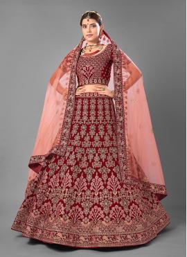 Maroon Wedding Velvet A Line Lehenga Choli