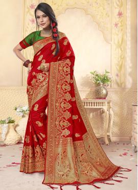 Marvelous Banarasi Silk Red Weaving Designer Saree