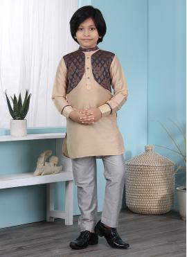 Marvelous Cotton Silk Beige Patchwork Kurta Pyjama