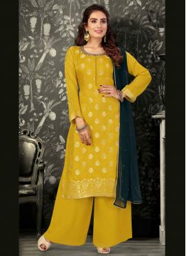 Marvelous Yellow Brocade Readymade Suit