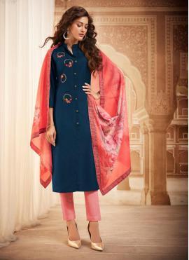 Maslin Silk Embroidered Bollywood Salwar Kameez in Blue