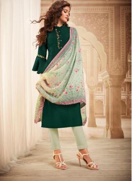 Maslin Silk Readymade Salwar Kameez in Green