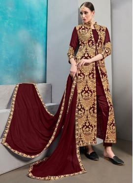Masterly Faux Georgette Festival Jacket Style Suit