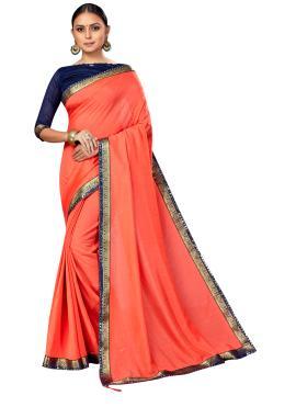 Masterly Peach Lace Satin Silk Classic Saree