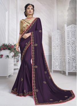 Masterly Purple Silk Designer Saree