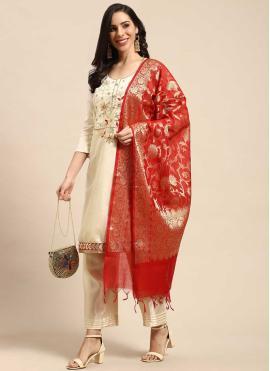 Mesmeric Cream Fancy Silk Designer Palazzo Suit