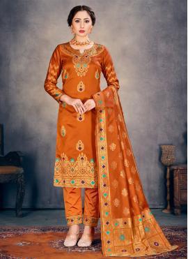 Mesmeric Orange Weaving Pant Style Suit