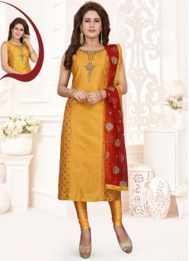 Mesmeric Zari Silk Orange Salwar Kameez
