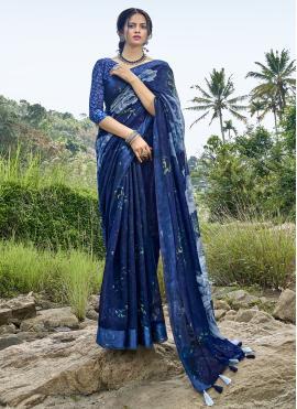 Mesmerizing Cotton Printed Blue Printed Saree