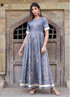 Miraculous Block Print Jamawar Silk Designer Gown