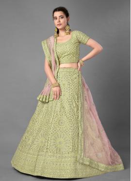Miraculous Sequins Green Art Silk Bollywood Lehenga Choli