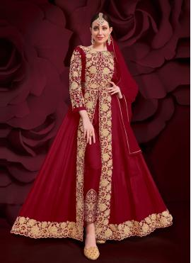 Mod Faux Georgette Embroidered Red Anarkali Suit