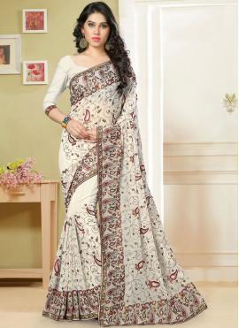 Mod Georgette Off White Embroidered Classic Saree