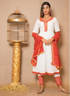 Mod Off White Cotton Readymade Salwar Kameez